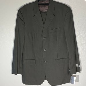 Alfani Men Suit Jacket Olive Gray Pinstripe 40 New